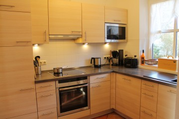 Kühlschrank mit extra Gefrierfach, Induktionsherd, Backofen, Mikrowelle, Geschirrspüler, Keramikspüle